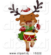 Vector Clipart of a Cartoon Christmas Reindeer Playing a Drum While Marching by BNP Design Studio