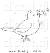 Vector Clipart of a Cartoon Cute Singing Bird - Outlined Coloring Page Art by Alex Bannykh