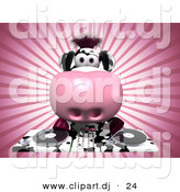 Vector Clipart of a Cartoon Dairy Cow DJ Mixing Records by Julos