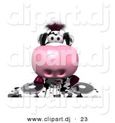 Vector Clipart of a Cartoon Dairy Cow DJ Playing Music by Julos