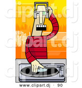 Vector Clipart of a Cartoon Disc Jockey Mixing Music Record on a Turntable by AtStockIllustration