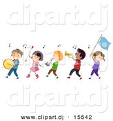 Vector Clipart of a Cartoon Diverse Marching Band Children by BNP Design Studio