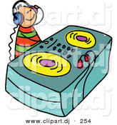 Vector Clipart of a Cartoon DJ Kid Wearing Headphones and Mixing Music by Prawny