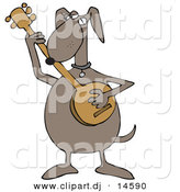 Vector Clipart of a Cartoon Dog Playing a Banjo Instrument by Djart
