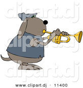 Vector Clipart of a Cartoon Dog Playing a Trumpet by Djart
