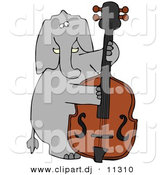 Vector Clipart of a Cartoon Elephant Playing Double Bass by Djart