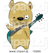 Vector Clipart of a Cartoon French Bulldog Carrying a Guitar by BNP Design Studio