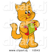 Vector Clipart of a Cartoon Ginger Cat Playing an Accordion by Alex Bannykh