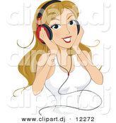 Vector Clipart of a Cartoon Girl Listening to Music Through Headphones While Smiling by BNP Design Studio
