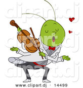 Vector Clipart of a Cartoon Grasshopper Playing Violin Love Music by BNP Design Studio