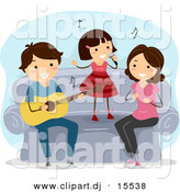 Vector Clipart of a Cartoon Happy Musical Family Playing Music Together by BNP Design Studio