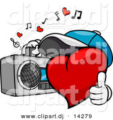 Vector Clipart of a Cartoon Heart Character Listening to Music from Boom Box by BNP Design Studio
