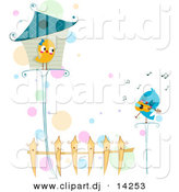 Vector Clipart of a Cartoon Love Bird Singing to Female Standing Outside House by BNP Design Studio