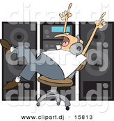 Vector Clipart of a Cartoon Man Dancing in a Chair While Listening to Music in Front of Big Speakers by Djart