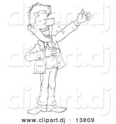 Vector Clipart of a Cartoon Man Happily Presenting Something - Outlined Coloring Page Art by Alex Bannykh