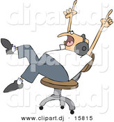 Vector Clipart of a Cartoon Man Wearing Headphones While Rocking out on a Chair by Djart