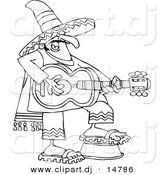 Vector Clipart of a Cartoon Mexican Guitarist - Outline Coloring Page Line Art by Djart