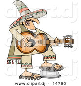 Vector Clipart of a Cartoon Mexican Guitarist Playing Guitar by Djart