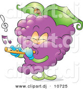 Vector Clipart of a Cartoon Musical Purple Grapes Playing a Flute by Alexia Lougiaki
