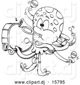 Vector Clipart of a Cartoon Octopus Band - Outline by Dennis Holmes Designs