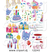 Vector Clipart of a Cartoon Party Doodles - Digital Collage by BNP Design Studio