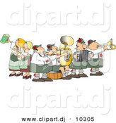 Vector Clipart of a Cartoon People Celebrating Oktoberfest - Music and Beer by Djart