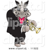 Vector Clipart of a Cartoon Rhino Playing a Trumpet by Dennis Holmes Designs