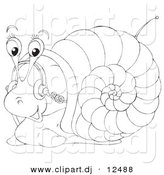 Vector Clipart of a Cartoon Snail Listening to Music with Headphones - Outlined Coloring Page Art by Alex Bannykh