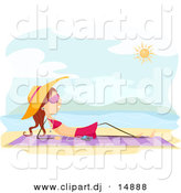 Vector Clipart of a Cartoon Stick Girl Listening to Music While Sun Bathing on a Beach by BNP Design Studio