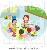 Vector Clipart of a Cartoon Teacher Playing Music to a Diverse Group of Students by BNP Design Studio