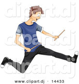 Vector Clipart of a Cartoon Teen Boy Rocking out with Drum Sticks by BNP Design Studio