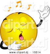 Vector Clipart of a Cartoon Yellow Smiley Emoticon Singing by BNP Design Studio