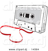 Vector Clipart of a Cassette Tape with Film Forming Love Heart by Any Vector