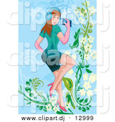 February 20th, 2016: Vector Clipart of a Caucasian Woman Listening to Music over Blue Floral by Mayawizard101