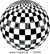 October 4th, 2015: Vector Clipart of a Checkered Black and White Disco Ball by Dero