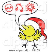Vector Clipart of a Christmas Chick Wearing a Santa Hat and Singing Carols by Zooco
