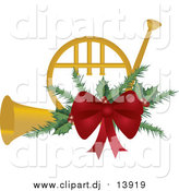 Vector Clipart of a Christmas French Horn with Holly and a Red Bow by Pams Clipart