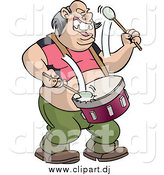 October 12nd, 2014: Vector Clipart of a Chubby White Male Drummer Singing and Marching by Frisko