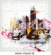 January 23rd, 2015: Vector Clipart of a City Skyline with Urban Grunge, Arrows, Speakers, Cassettes and a Record Player by OnFocusMedia