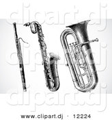 Vector Clipart of a Clarinet, Saxophone and Tuba - Digital Black and White Collage by BestVector