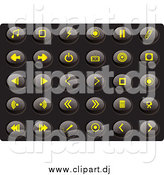 Vector Clipart of a Collection of Oval Yellow Media Icons on a Black Background by Rasmussen Images