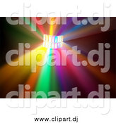Vector Clipart of a Colorful Disco Light Burst Background by Dero