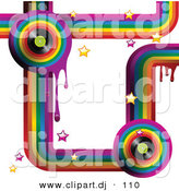 Vector Clipart of a Colorful Music Rainbow Background with Drips, Stars and Vinyl Records by Elaineitalia