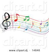 Vector Clipart of a Colorful Rainbow Staff and Music Notes by Vector Tradition SM