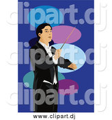 June 6th, 2015: Vector Clipart of a Conductor Man over Blue and Ovals by Mayawizard101