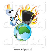 Vector Clipart of a Cool White Head Guitar Musician Man Rocking on Earth by TA Images