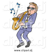 Vector Clipart of a Cool White Man Wearing Shades and Leaning Back While Playing Blues Music on a Sax by LaffToon