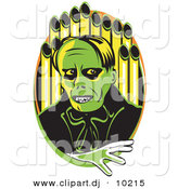 Vector Clipart of a Creepy Cartoon Phantom (of the Opera) Standing in Front of Organ Pipes by Andy Nortnik