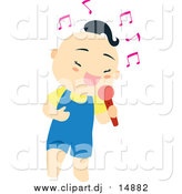 August 12nd, 2016: Vector Clipart of a Cute Asian Boy Singing into a Microphone by Cherie Reve
