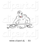 Vector Clipart of a Disc Jockey Mixing Vinyl - Line Art Outline by Prawny